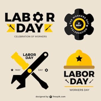 Gelbe und schwarze Aufkleber für Tag der Arbeit