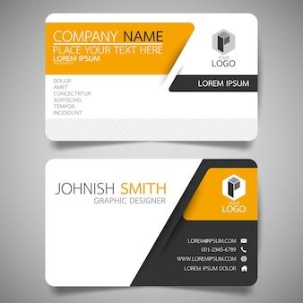 Gelbe und schwarze layout-visitenkarte vorlage.