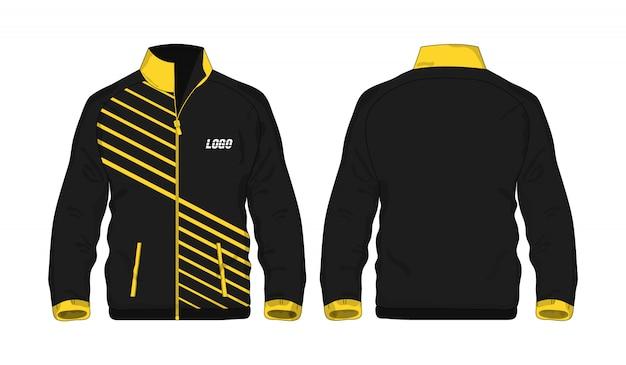 Gelbe und schwarze schablone der sportjacke für entwurf auf weißem hintergrund. vektorillustration eps 10.