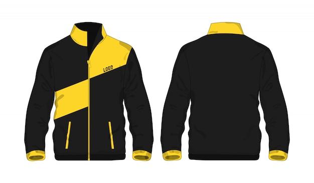 Gelbe und schwarze schablone der sportjacke für entwurf auf weißem hintergrund.