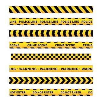 Gelbe und schwarze warnbänder, nahtlose ränder auf weiß
