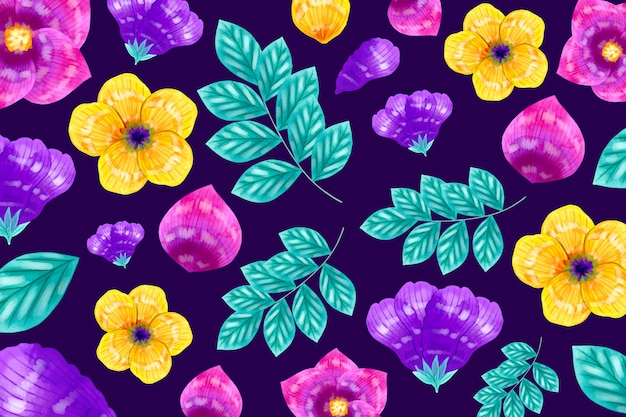 Gelbe und violette blumen mit exotischem blattmusterhintergrund