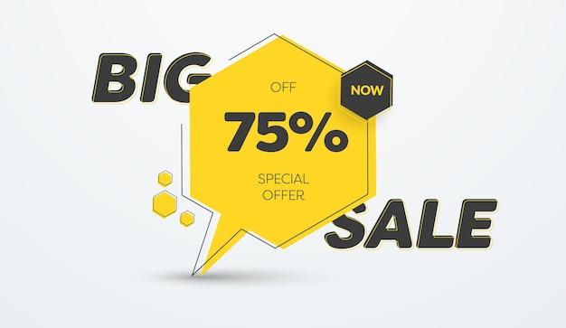 Gelbe vektorbanner-vorlage für großen verkauf und 75-prozent-rabatt. aufkleberdesign mit schwarzen elementen und text.