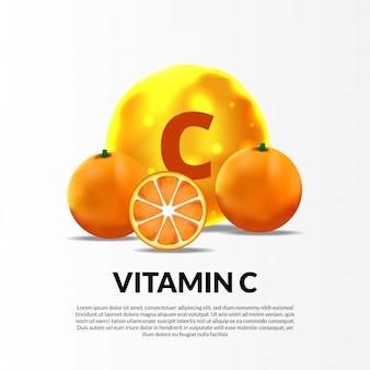 Gelbe vitamin c-molekülillustration der kugel