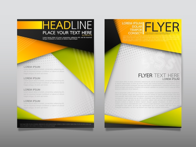 Gelbe vorlage abdeckung business broschüre layout.