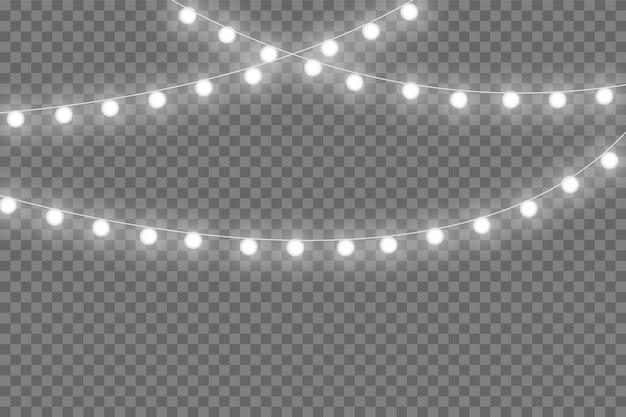 Gelbe weihnachtsbeleuchtung isoliert realistische gestaltungselemente. weihnachtsbeleuchtung auf transparentem hintergrund isoliert. weihnachten leuchtende girlande. vektor-illustration.