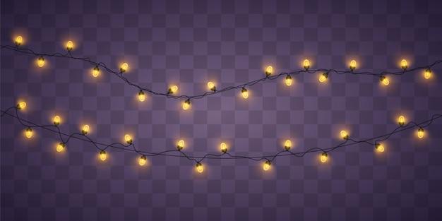 Gelbe weihnachtslichter. weihnachtsglühende girlande.