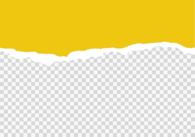 Gelbe zerrissene papierstreifen realistisches zerrissenes papier auf transparentem hintergrund nahtlose horizontale vektorillustration