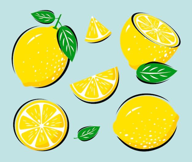 Gelbe zitrone mit blättern