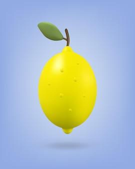 Gelbe zitronenfrucht mit blatt auf hintergrund. symbolillustration. renderstil.