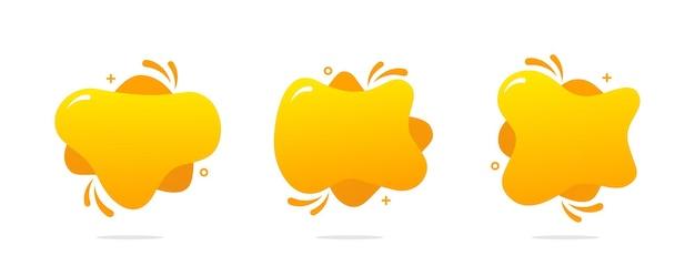Gelber abstrakter flüssiger hintergrund eingestellt