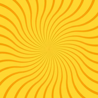 Gelber abstrakter hintergrund mit radialen strahlen, linien oder streifen, die sich um die mitte biegen oder wirbeln. quadratischer hintergrund mit rotierender illusion oder schwindligem effekt. helle farbige moderne vektorillustration.