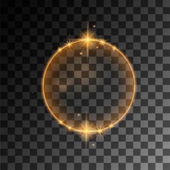 Gelber abstrakter leuchtender ringeffekt mit flacher vektorillustration der funken auf transparentem hintergrund.