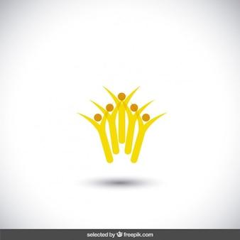 Gelber abstrakter nächstenliebe-logo