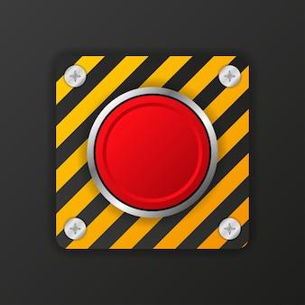 Gelber alarmknopf auf rotem hintergrund.