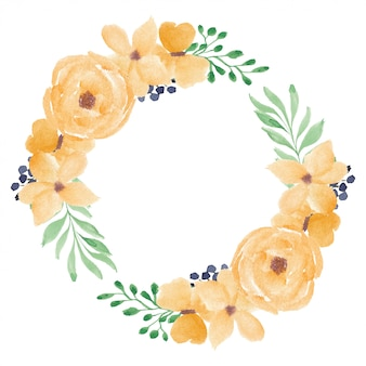 Gelber aquarell-rosenblumenkranz