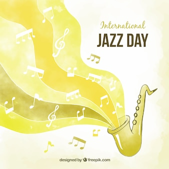 Gelber aquarellhintergrund für internationalen jazztag