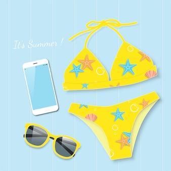 Gelber bikini mit sonnenbrillesommer-vektorkonzept.