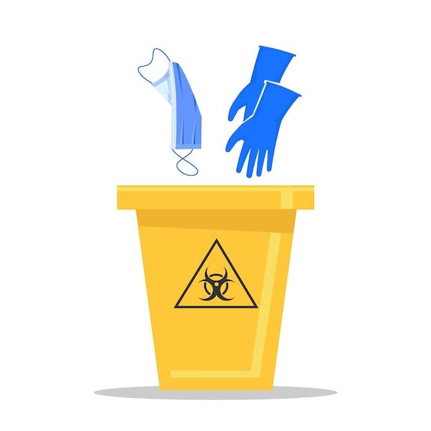Gelber biohazard-mülleimer