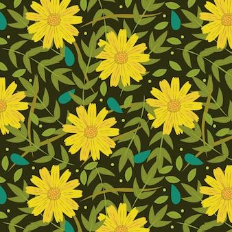 Gelber blumenfrühling mit blättern