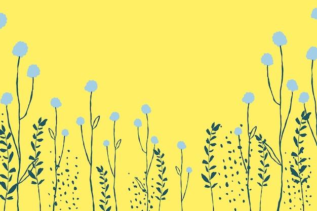 Gelber blumengrenzhintergrundvektor mit löwenzahnblumengekritzel