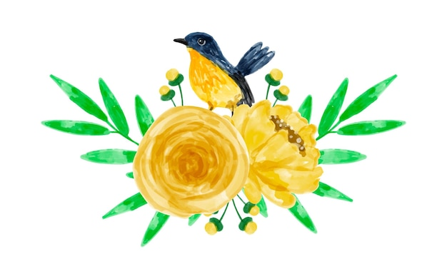 Gelber blumenstrauß mit aquarell