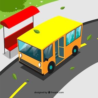 Gelber bus hintergrund