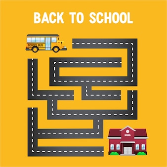 Gelber bus zurück zur schule mit labyrinth von der straße