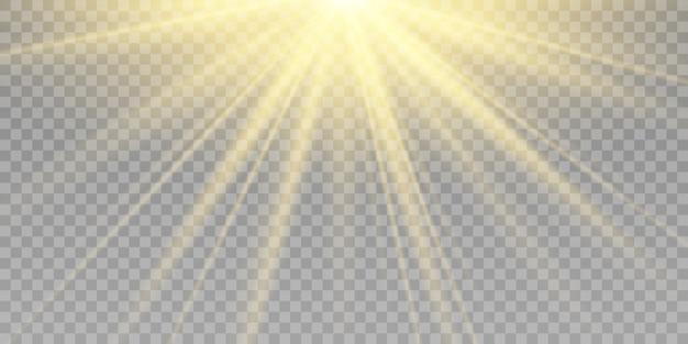 Gelber detonationseffekt. sonnenstrahlen mit strahlen lokalisiert auf transparentem hintergrund