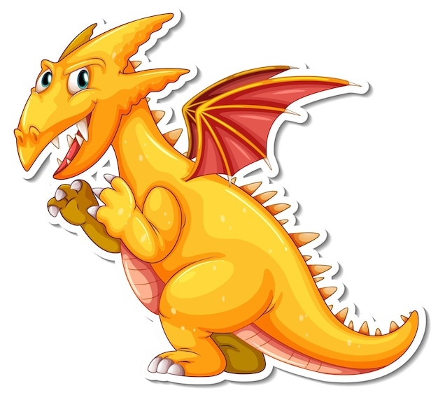 Gelber drache-cartoon-charakter-aufkleber Kostenlosen Vektoren