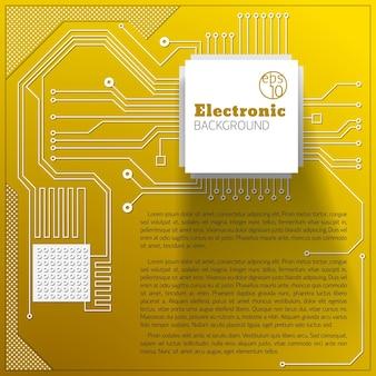 Gelber elektrischer bretthintergrund mit textfeld