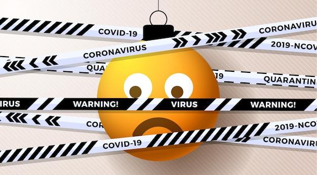 Gelber emoji trauriger weihnachtsball und quarantäne-biohazard-gefahr. weiße schwarze streifen. coronavirus covid-19 und weihnachten oder neujahr abgebrochenes konzept. vektor-illustration