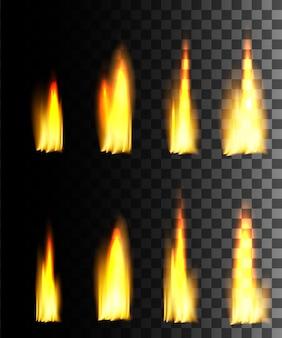 Gelber feuer abstrakter effekt auf transparentem hintergrund.