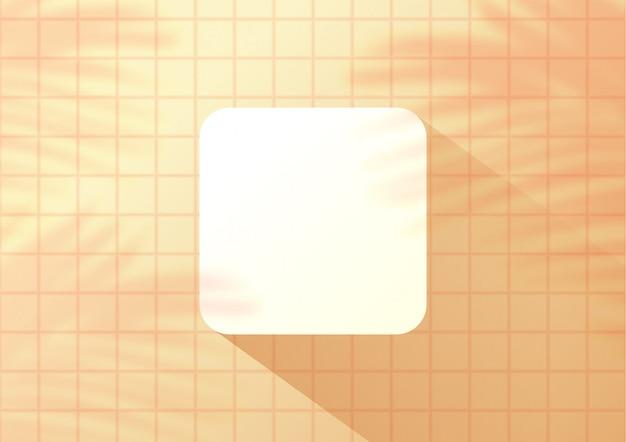 Gelber fliesenhintergrund der draufsicht mit palmblättern für produktanzeige.