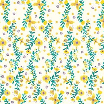 Gelber flora naturhintergrund, blumenmuster tapete und druck