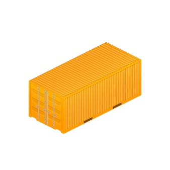 Gelber frachtcontainer. großer container für ein schiff isoliert
