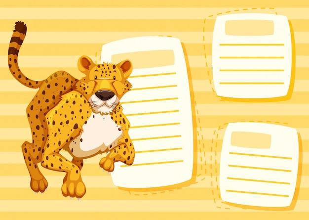 Gelber gepard leerer rahmen