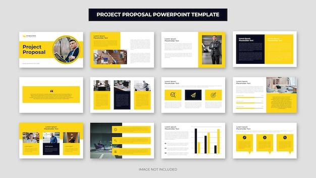 Gelber geschäftsvorschlag projektpräsentation foliendesign jahresbericht powerpoint-vorlage