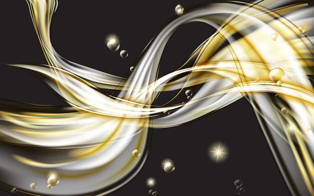 Gelber goldener fließender flüssiger abstrakter schwarzer hintergrund