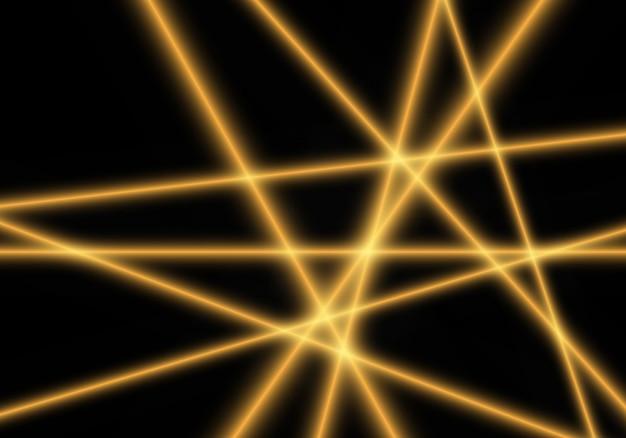 Gelber heller laserstrahl auf schwarzem hintergrund.