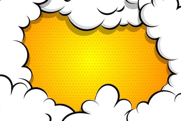 Gelber hintergrund der karikatur-blätterteigwolke für textschablone