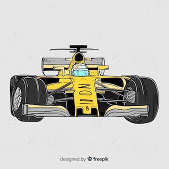 Gelber hintergrund des autos der formel 1