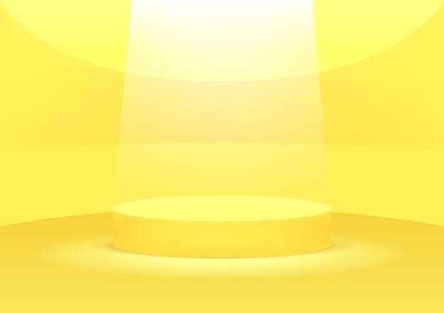 Gelber hintergrund des leeren podiumstudios