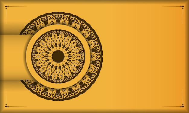 Gelber hintergrund mit brauner vintage-verzierung für design unter ihrem text