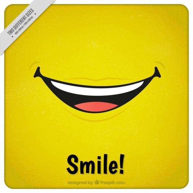 Gelber hintergrund mit einem großen lächeln