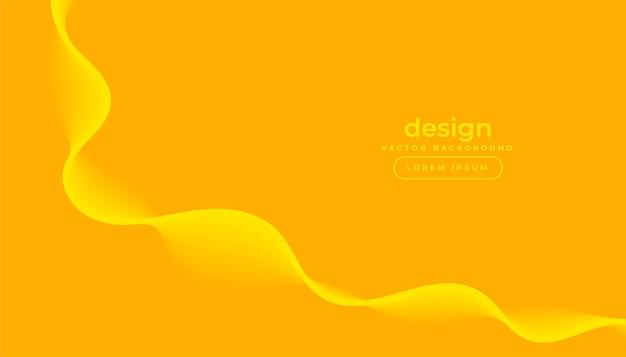 Gelber hintergrund mit kurvigem fließendem wellenentwurf