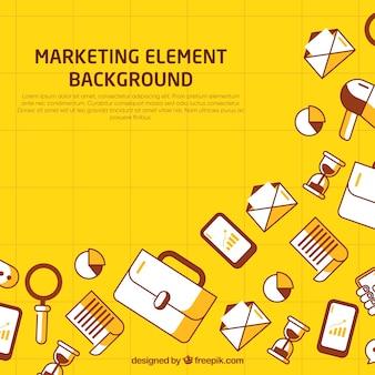 Gelber hintergrund mit marketing-elementen