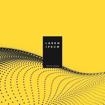 Gelber hintergrund mit partikel-mesh-welle