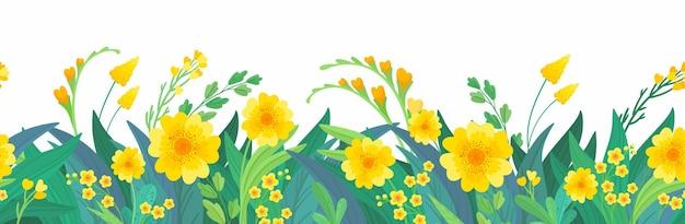 Gelber horizontaler blumenhintergrund frühlingsblumen Kostenlosen Vektoren