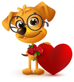 Gelber hund des spaßes mit blumenstrauß der rotrose. rotes herz geschenk zum valentinstag